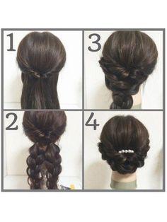 ①両サイドの髪を結んでくるりんぱ。 ②二つに分けて根元をそれぞれ結んでから三つ編みしてほぐす。 ③右の三つ編みを左耳の方でピンでとめる。 ④逆もおなじ。トップを少しつまんだら完成 *くるりんぱしたあとに、くるりんぱのとこも少しずつひきだしたら、より可愛いです以前アップしたものより、エレガントな雰囲気なので、結婚式の二次会などにもオススメです