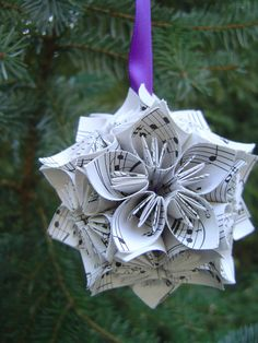 Mini Vintage Sheet Music Kusudama Ball Origami by TreeTownPaper, $14.00