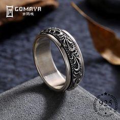 GOMAYA Carving Bloem 925 Sterling Zilveren Ringen Gothic Vintage Rock Punk Cocktail Fijne Sieraden voor Mannen en Vrouwen Anillos