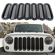 Matte Black Front Grill Mesh Grille Insert Cover for Jeep Wrangler JK Jeep Wrangler Grill, Jeep Grill, Jeep Wrangler Rubicon, Jeep Jk, Jeep Wrangler Jk Accessories, Jeep Accessories, White Jeep Wrangler Unlimited, Jeep Sahara, Jeep Decals