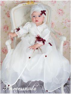 ♥ SOFIA ♥ Langes Taufkleid mit Hut in zartem Creme! - Princessmoda - Alles für Taufe Kommunion und festliche Anlässe