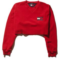 Tommy Fleece Crop Top- Medium Perennial Merchants (€38) ❤ liked on Polyvore featuring tops, shirts, sweaters, crop tops, crop top, red crop shirt, red top, shirt top and red crop top
