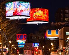 Quebec City has recently been illuminated by 34 giant backlit lampshades that look like works of art.