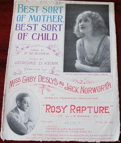 JEROME KERN BEST SORT OF MOTHER SHEET MUSIC (1915) ROSY RAPTURE GABY DESLYS