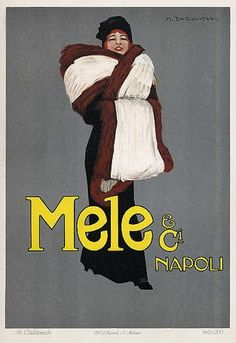 Vintage Italian Posters ~ #illustrator #Italian #vintage #posters ~ Mele & Ci., Napoli, by Marcello Dudovich