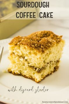 Looking for a delicious way to use up your discarded sourdough starter? This sourdough coffee cake is sweet and tender and topped with the most delicious cinnamon sugar topping! Sourdough Coffee Cake Recipe, Sourdough Starter Discard Recipe, Sourdough Recipes, Bread Machine Recipes, Bread Recipes, Streusel Topping, Breakfast Cake, Dessert Recipes, Starter Recipes