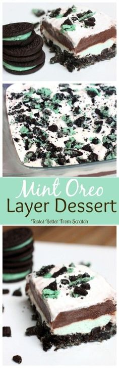 Mint Oreo Layer Dessert Recipe. See 15 must-try mint dessert recipes on www.prettymyparty.com.