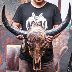 REAL HAND CARVED BUFFALO SKULL & HORNS / Taxidermy antlers longhorns steer bull