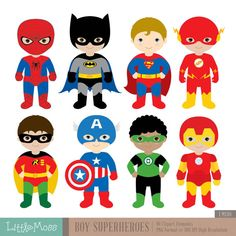 Boys Superhero Costumes Clipart 1, Boy Superheroes, Superheroes Clipart