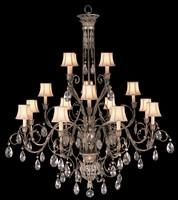 Chandelier in cool moonlit patina with moon dusted crystals. Hand-sewn, silk shantung shades.