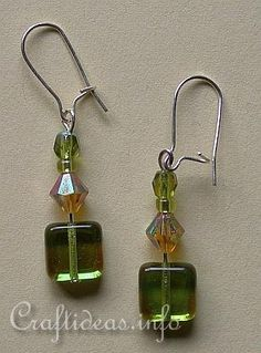 Green and amber crystals color earrings