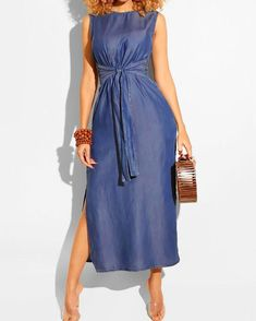 Boho Dress Women Sleeveless Denim Dress Drawstring Tie Split Up Vintage Evening Party Solid Summer Casual Holiday Long Maxi Dress Womens Denim Dress, Blue Denim Dress, Denim Skirt, Boho Dress, Dress Skirt, Chic Dress, Trendy Outfits, Fashion Outfits, Classy Outfits