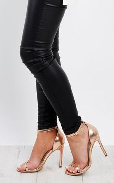Rose Gold Strappy Heels by Truffle Collection