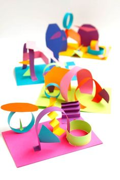 We love these colored paper collage sculptures for a crazy-easy way to explore color and working with p-dimensionally.