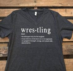 Wrestling definition meaning of Wrestling Unisex V-neck short sleeve short / Wrestling Mom Shirt / Wrestling Apparel / Wrestling Dad Shirt This shirt is great for both men and women! This shirt is available in both v-neck and crew neck. Pictured above is a Dark Heather Gray
