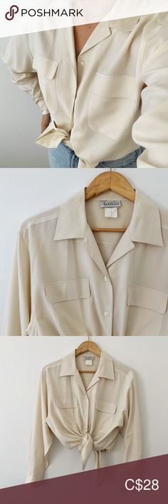 Vintage Silky Cream/Off-White Long-Sleeved Blouse Perfect vintage basic! Super minimal and can easily be styled for modern/trendy wear. I'm not sure of the material, it is washed off the tag. Could be a cotton/poly blend. Vintage Tops Button Down Shirts Blouse Vintage, Vintage Tops, Plus Fashion, Fashion Tips, Fashion Trends, Colorful Shirts, Minimal, Button Down Shirt, Cream
