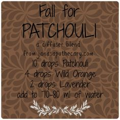 Fall for Patchouli Diffuser Blend ~ www.sparknaturals.com/?affiliates=110; Use coupon code REVIVE for an additional 10% off purchase at checkout.