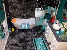 American Girl Doll House: Bathroom with claw foot tub, tile and reversible shower curtain. Dhillis75@yahoo.com to order