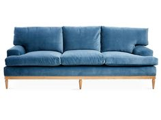 Sutton Sofa, Harbor Blue Velvet - Sofas & Sectionals - Furniture - Category Landing Page Sutton Sofa, Harbor Blue Velvet from One Kings Lane Blue Velvet Loveseat, Velvet Tufted Sofa, Blue Couches, Settee Sofa, Blue Chairs, Velvet Furniture, Blue Furniture, Deck Furniture, Furniture Styles