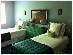 green dresser, two twin beds, brass, vintage boy's room #bigboyroom