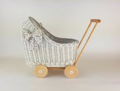 Wiklibox wicker & alder wood doll stroller in WHITE colour with soft muslin bedding. Variants available. Baby walker by WIKLIBOX on Etsy Dolls Prams, Bassinet, Wicker, Little Girls, Bedding, Colour, Wood, Handmade Gifts, Baby