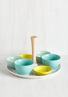 Serves You Swell Tray Set. Display an array of dips in which your guests will delight atop the white ceramic base of this serving dish, grasping its wooden center handle to deliver the treats.  #modcloth