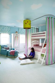 Cool curtain idea for the girls room. Wait until they are old enough not to hang on the curtains.