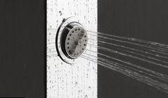 Well Tonda: colonna doccia a parete o incasso con 4 getti verticali orientabili a 3 funzioni e soffione tondo