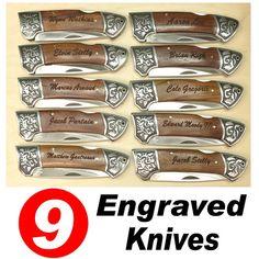 SET OF 9 Engraved Pocket Knife, Rosewood Handle, Best Man Gift, Groomsmen Gift, Birthday Gift, T14-9