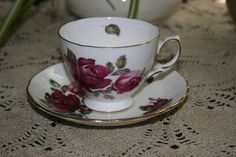 Vintage Royal Vale Bone China Red Rose Teacup and Saucer Made in England 8171 by KattsCurioCabinet on Etsy