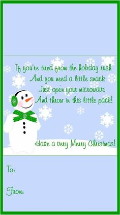 Snowman Popcorn Wrapper - FREE Printable | Winter ...