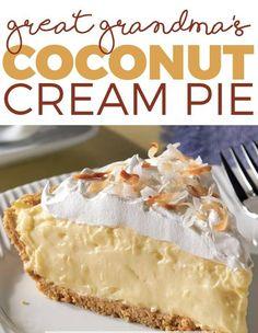 Great Grandma's Coconut Cream Pie (Healthy recipes) Köstliche Desserts, Sugar Free Desserts, Sugar Free Recipes, Sweet Recipes, Delicious Desserts, Dessert Recipes, Healthy Recipes, Sugar Cream Pie Recipe, Banana Cookie Recipe