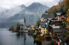 Austria Alps Mountain Lake Autumn Fall  Rainy by DDubPhotog, $30.00