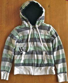 VOLCOM Sweatshirt Hoodie Jacket Womens Size Small Plaid White Green Black