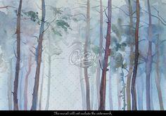 Nature peinture murale de la forêt de mur bâton et peel