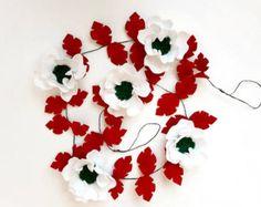 CHRISTMAS ROSES GARLAND // Felt Flower Garland // by HoneyCrown