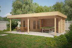 Gartenhaus mit Großem Sonnedach Garden Paradise B 10m2 / 50mm / 6x8