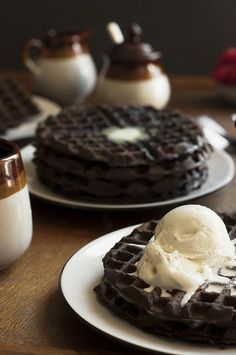Dark Chocolate Zucchini Cake Waffles by thecandidappetite: Dessert for breakfast! Dark chocolate zucchini cake batter made into fluffy waffles and topped with butter, maple syrup and vanilla ice cream. #Waffles #Zucchini #Chocolate