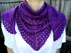 Eyelet Lace Shawlette is a simple, beginner-level shawl using an eyelet lace repeat. This shawl can be easily sized by adjusting the amount of yarn used, or the size of the needle used and/or the weight of the yarn used.