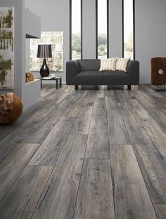 BuildDirect – Laminate - My Floor 12mm Villa Collection – Harbour Oak Grey - Living Room View