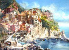Rita Zaudke Manarola Coastline - Watercolor of Manarola, Italy