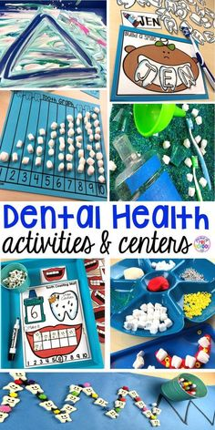 Dental health themed activities and centers for preschool, pre-k, and kindergarten (FREEBIES too) #dentalhealththeme #preschool #pre-k #tooththeme