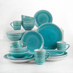 Euro Ceramica Fez Crackle-Glaze Turquoise Stoneware Dinnerware Set, Service for 4 Fez - The Home Depot Table Turquoise, House Of Turquoise, Turquoise Kitchen Decor, Stoneware Dinnerware Sets, Tableware, Kitchenware, Teal Dinnerware, Ceramic Materials, Dish Sets