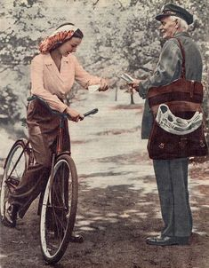 1940s fashion | love her scarf! | vintage 40s bicycle | trousers / pants, shirt + scarf