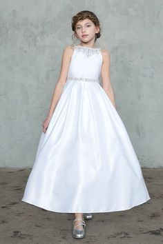 a1c845d49b8 Girls Dress Style D786 - Long Satin and Beaded Dress in Choice of Color
