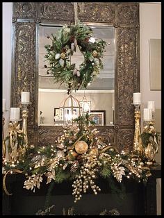 Christmas Mantle Decor Fireplaces – Welcome My World Christmas Fireplace, Christmas Mantels, Christmas Home, Christmas Wreaths, Xmas, Christmas Villages, Fireplace Mantel, Christmas Christmas, Christmas Ornaments
