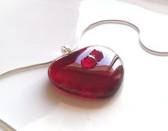 Red Heart Shaped Necklace Two Hearts in One by GlitterbirdGlass, $20.00