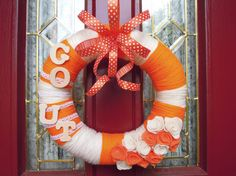 University of Tennessee Orange and White Yarn Wreath with Orange and White Felt Roses and Orange Ribbon