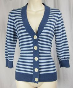 BODEN striped blue cardigan sweater blue nautical stripe button up 3/4 slv 10 M #Boden #Cardigan