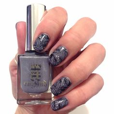 A delicate stamped mani. Nail Polish: A England - Wuthering Heights, A England - Fonteyn, Bundle Monster Plate - XL209, Konad - Black, Seche Vite - Dry Fast Top Coat